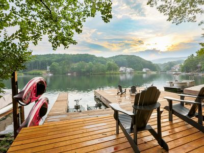Photo for Lake Arrowhead Luxury Lakefront Cottage - Massive Dock- Best View on the Lake