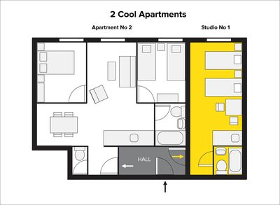 On the same floor we have another, 2 bedroom apartment