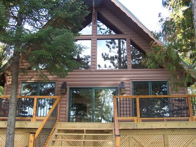 Front of cabin with southern views of lake