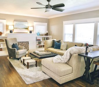 Casually chic and comfortable open floor plan features plush sectional seating