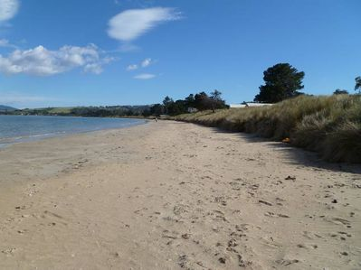 Northerly view along quiet and safe south arm beach 50m walk down private path f