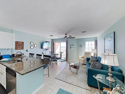 Photo for New Listing! Coastal Gem w/ Pool & Gulf-View Balcony - 1 Block to Beach