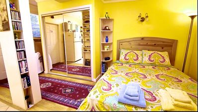 Our queen-size and very comfortable Temperedic bed, and adjoining closet