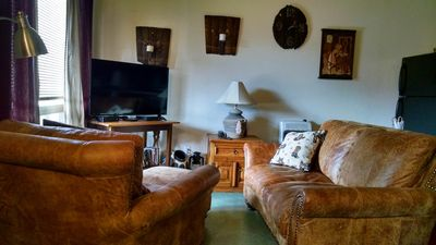 Hideout Cabin Living Room Italian Leather Sofa and Chair