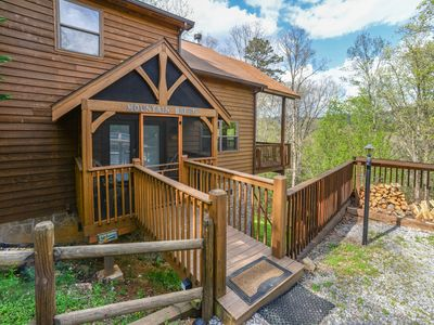 Photo for Dog-friendly mountain view cabin w/ pool table & private hot tub