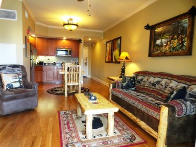This Exclusive 1 B/R King Suite is located 'on the Pigeon Forge River'.