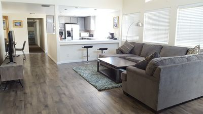Open kitchen/dining/living room areas