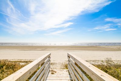 Only steps away on this awesome beach.  Your own private walk over to the beach.