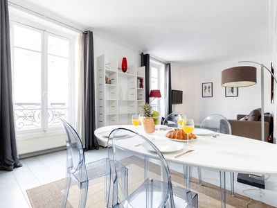 Photo for Eiffel Tower View! Lovely 1BR Flat Steps from the River Seine