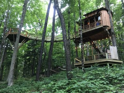 Photo for The Magical Chez' Tree Rest Treehouse Perched 35' above the forest floor!
