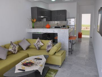 a brand new apartment in a quiet location 150 m from the beach