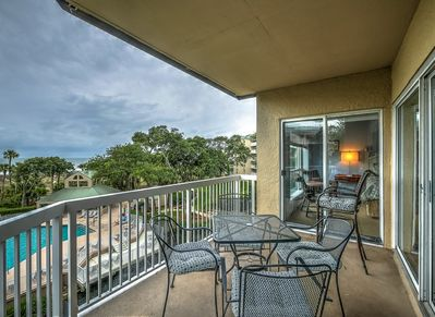 Balcony with Ocean and Pool Views at 304 Barrington Arms