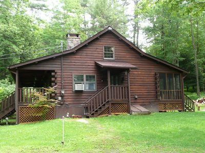 Photo for Secluded Log Cabin with a 6-Person Hot Tub, Private Pond and Babbling Brook