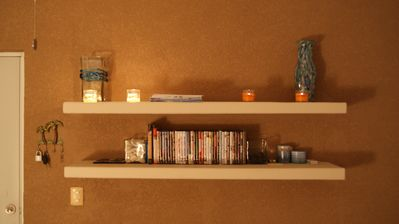 Wall Unit in the living area with a collection of DVDs