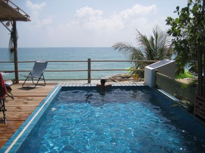 Facing Gulf of Siam: private pool, 180° beach view