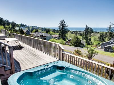 Photo for Coastal lodge w/ private hot tub, expansive deck & incredible ocean views!