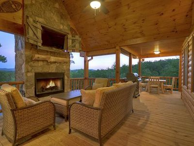 Photo for Peaceful Mountain Views~Outdoor Fireplace/TV~Awesome Gameroom~Fishing Pond/Pavilion