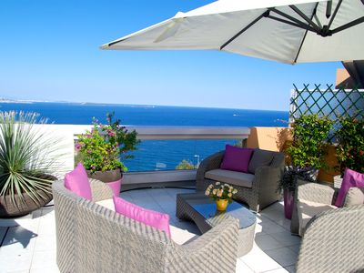 Photo for Superb villa on the roof facing the sea, 2 bedrooms, terrace 130m2, pool, wif