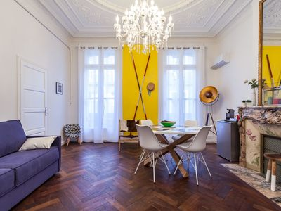 Photo for Bright Haussmann apartment in the heart of the city - pedestrian street
