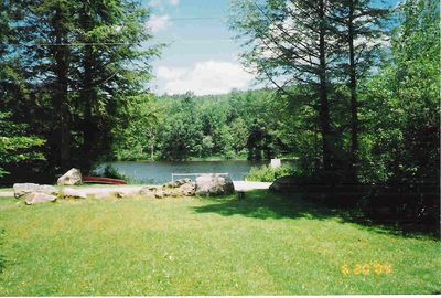 View of the lake from the back porch.
