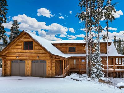 Photo for Luxury Log Home | Large Deck w/ Dining & Views | Game Room | Private Hot Tub | Sleeps 18!