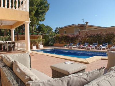Photo for Large and comfortable villa  with private pool in Moraira, on the Costa Blanca, Spain for 8 persons