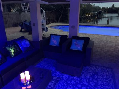 Photo for New Listing! Bay- Canal Waterfront with Tiki Bar Heated Pool Sleeps 8 No Steps!