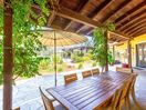 Outdoor Dining - Shaded outdoor dining table for 8 near the pool and hot tub area.