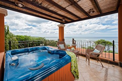 Upper Terrace off Master Bedroom with panoramic views and the  coveted hot tub!