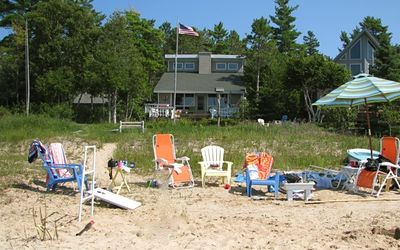 Lake Front Cottage. (Beach size varies depending on lake level.)