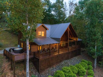 Photo for Large log cabin with loft - wrap-around deck, hot tub & mountain views!