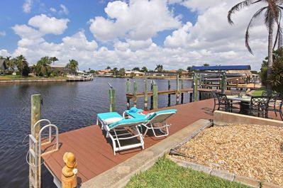 Great dock for sunbathing  and captain walk slip for  docking your boat