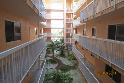 Interior corridor from front street side elevator to our beach side condo