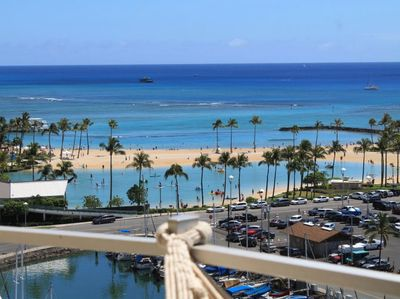 View of the lagoon and Waikiki beach from your lanai with hammock.