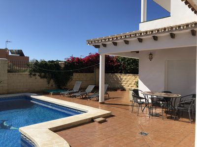 Photo for 3 Bed Villa with private Pool Sleeps 6/8. 15 mins walk to town centre and beach