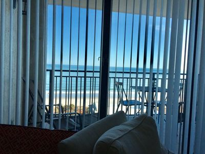 This is the oceanfront view - beautiful even through open blinds.