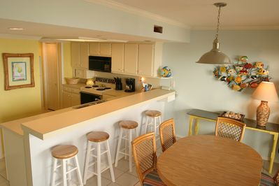 Completely equipped kitchen with pass through snack bar.