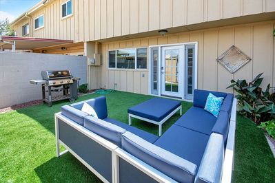 Private back patio where you can chill, grill and enjoy the outdoors