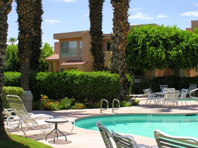 Photo for Comfortable La Palme Condo, Pool, Spa, Tennis, Minutes to Downtown, Airport, Restaurants!