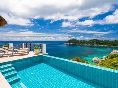 Photo for 2-6P Luxury boutique villa on a cliff with sea view and sunset, daily cleaning