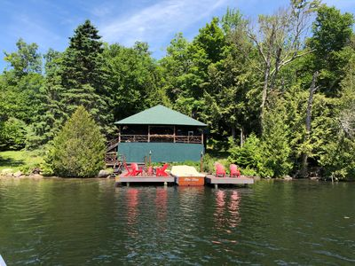 Photo for CAMP HAPPY HOURS waterfront campLake Placid, NY Pontoon Boat Included