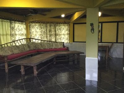 Couch and main living area downstairs