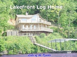 Waterfront view of the Pelican Point Log Home