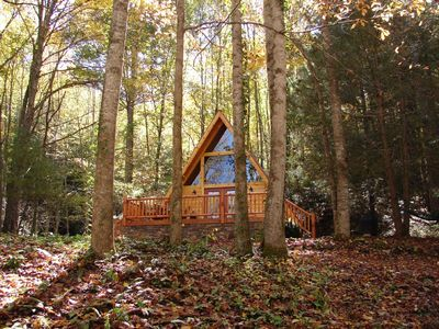 Photo for A-FRAME LOG CABIN IN THE WOODS! -WIFI, HOT TUB, CREEK, VIEWS, FIRE PIT!