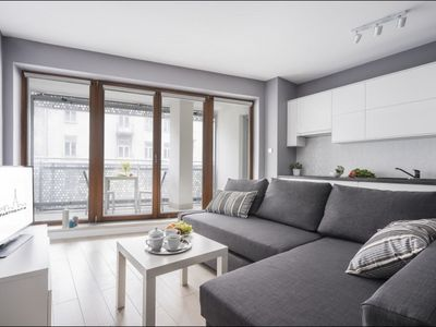 Photo for Oxygen Wronia 1 apartment in Ochota with WiFi, private parking, balcony & lift.