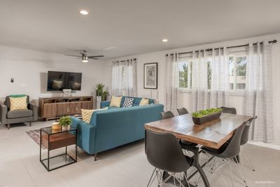 Large open living room with plenty of seating