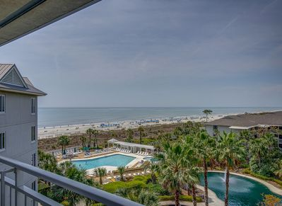 Balcony off the Living Room Offers Ocean and Pool Views at 2510 Sea Crest