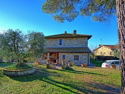 Photo for Apartment with private pool, WIFI, TV, patio, panoramic view, parking, close to Greve In Chianti