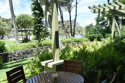 Sit back and relax on the lanai.  first of the two lana'i