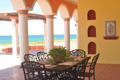 Comfortable outdoor dining on the patio